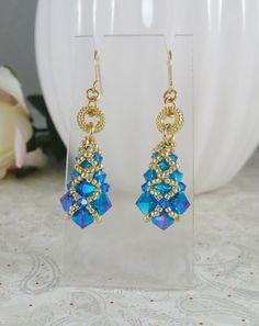 Woven Earrings in Swarovski Blue ABx2 Crystal