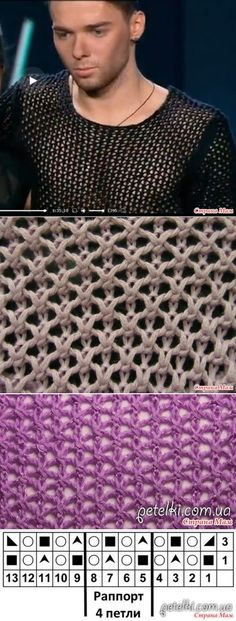 Сетка спицами - Вязание - Страна Мам by alag Knitting Basics, Knitting Stiches, Crochet Stitches Patterns, Knitting Charts, Lace Patterns, Lace Knitting, Knitting Patterns, Tricot D'art, Knit Stitches