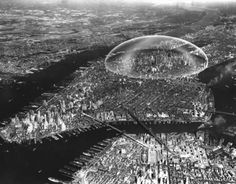 """In 1960, engineer Buckminster Fuller, with architect Shoji Sadao, planned the project of a two mile """"geodesic dome spanning Midtown Manhattan that would regulate weather and reduce air pollution."""""""