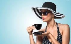 Modelka, Kapelusz, Okulary, Filiżanka, Kawy