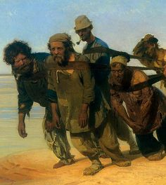 Ilya Repin: Volga boat draggers  Can't help loving Repin for choosing this motive-cité par Sylvain TESSON ds les forêts de Sibérie.