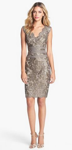 Embellished Metallic Lace Sheath Dress find more women fashion on http://misspool.com find more women fashion on www.misspool.com