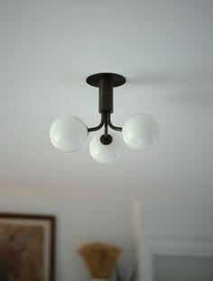 Tangent 3 Flush Mount Condo Interior Design, Glass Globe, Geometry, Light Bulb, Ceiling Lights, Lighting, Bedroom, Amalfi, Globes