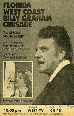 From the archives: Joni Eareckson Tada as a special guest at a Billy Graham Crusade!