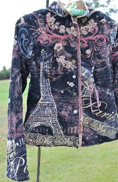Front Bohemian Rustic Collage Jacket Paris Eiffel Tower Deconstructed  Reconstructed Romantic Shabby Chic by Izzy Roo 69ac525aa60