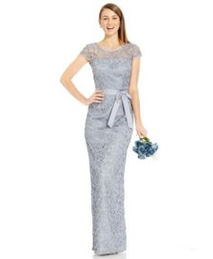 Adrianna Papell Cap-Sleeve Illusion Lace Gown | macys.com