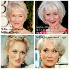 Understanding Undertone and Ageing – Warm to Cool; I don't think the lady on the top is in her best colors in either picture. On the left she disappears, on the right she's too harsh. She needs a middle ground. I love the first haircut top row on the left Yellow Skin Tone, Grey Hair For Warm Skin Tones, Seasonal Color Analysis, Color Me Beautiful, Aging Gracefully, Silver Hair, Good Skin, Coaching, Hair Color