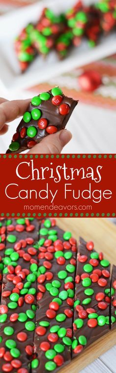 Christmas Candy Fudge - a deliciously easy holiday treat! Easy Christmas Treats, Christmas Candy, Simple Christmas, Holiday Treats, Holiday Bars, Holiday Candy, Christmas Sweets, Holiday Desserts, Fun Desserts