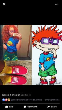 Halloween costume chuckie finster rugrats to search for items: - blue tee shirt with red collar - bright green high waisted jeans Halloween Cartoons, 90s Halloween Costumes, Cute Costumes, Halloween Kostüm, Halloween Cosplay, 90s Costume, Diy Chucky Costume, Halloween Costume Ideas For Couples, Halloween Parties