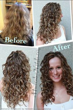 By Haircolor & style by Natalya. Before and after, naturally curly hair. Balayage and ombré. Styled with gel Élixir Bouclé for fine to medium hair, No. 8. www.ElieElie.com Stylist: Natalya Anderson Model: Lindsay K. @Bloom.com