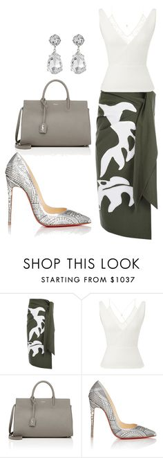 """""""style theory by Helia"""" by heliaamado on Polyvore featuring moda, Cédric Charlier, Roland Mouret, Yves Saint Laurent, Christian Louboutin e Kenneth Jay Lane"""