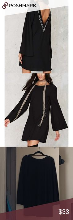 Nasty Gal Wild 'n Free Embroidered Dress Loose black A-line dress made in crepe material with bell sleeves. Deep v-back cut. Nasty Gal Dresses Long Sleeve