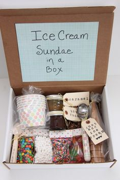 Who doesn't love ice cream sundaes?! Visit your local Dollar Tree store to grab spoons, ice cream toppings, and other fun ingredients (only $1 each!) to fill this creative gift box!