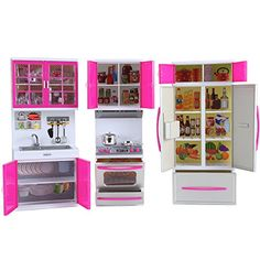 PowerTRC® My Modern Kitchen Mini Toy Playset with Lights and Sounds, Perfect for Dolls Kitchen Playsets, Kitchen Appliances Brands, Kitchen Sets For Kids, Pretend Play Kitchen, Barbie Playsets, Pink Sofa, Barbie Accessories, Barbie Furniture, Decorating Tools