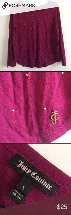 {Juicy Couture} long sleeved studded top Dark berry colored with little gold smooth studs. Worn one time in perfect condition. ✨OFFERS WELCOME✨ Juicy Couture Tops Tees - Long Sleeve
