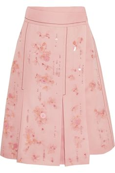 Prada - Embellished Pleated Silk-crepe Wrap Skirt - Pink - IT Rosa Rock, Rosa Style, Pink Pleated Skirt, Midi Skirt, Embellished Skirt, Pink Sequin, Pink Polka Dots, Mellow Yellow, Silk Crepe