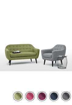 MADE 2 Seater Sofa, Lime Green. Upholstered. Ritchie 2 Seater Sofas Collection from MADE.COM... 2 Seater Sofa, Pearl Grey, Danish Design, Solid Wood, Sofas, Ottoman, Comfy, Living Room, Delivery