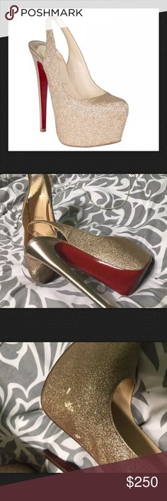 Christian Louboutin Gold Sparkle Slingback Pumps38 Pictures do the talking  Cover picture is the retail picture ] - Comes with dustbags. Sz:38 Any questions please ask!! Christian Louboutin Shoes Platforms