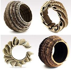 Anthony Roussel creates rings and bracelets from wood and cork. He works with layers to create beautiful designs. Jewelry Model, Jewelry Art, Jewelry Design, Unique Jewelry, Fashion Rings, Fashion Jewelry, Style Fashion, Laser Cutter Projects, Laser Cut Jewelry