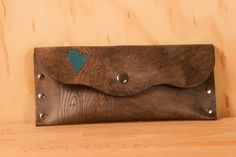 Leather Pouch or Clutch -  Turquoise and antique black - Nice pattern with wood grain and heart