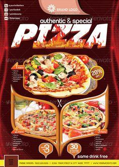 Pizza Flyer (Print Ready) by konfikkonfik Print Ready pizza flyer 1 PSD File 1 Colors bleed Easy color change CMYK colors Editable TextEditable logo High Resolut Hotel Menu, Restaurant Menu Template, Pizza Restaurant, Restaurant Branding, Pizza Flyer, Pizza Menu, Pasta Pizza, Ready Pizza, Ideas