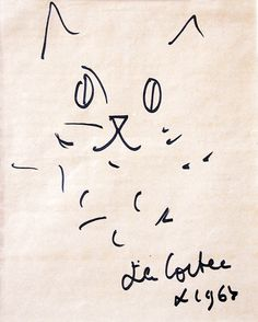 """Jean Cocteau dessin """"une tête de chat"""""""