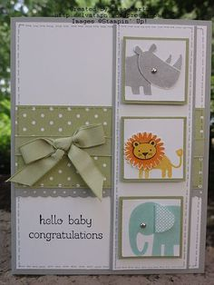 handcrafted baby card featuring  Zoo Babies ... blocks with stamped animals with cut out and popped upf heads ... luv the design ... Stampin' Up!