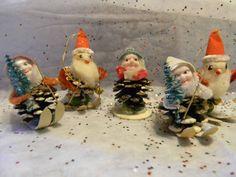 Vintage Christmas Pinecone Elves Santa Elf Skiers Ornaments Cotton Spun Chenille   eBay