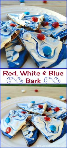 Red, white and blue bark is a super easy treat that is perfect for patriotic holidays! You can make this tricolored dessert in a matter of minutes.