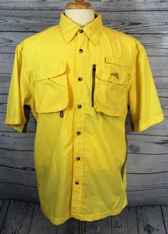Natural Gear Shirt Fishing Mens L Nylon Button Front Short Sleeve Yellow Vented | Sporting Goods, Fishing, Clothing, Shoes & Accessories | eBay!