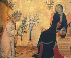 The Annunciation, 1333 at Uffizi Gallery Florence Italy  SIMONE MARTINI, indicato talvolta anche come Simone Senese (Siena, 1284 circa – Avignone, 1344)  #TuscanyAgriturismoGiratola