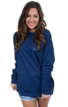 Estate Blue - Chin Up Buttercup - Long Sleeve Front