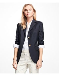 petite-two-button-wool-blazer by brooks-brothers. #fashiontrend #dresses #outfit #gorgeous #shoptagr
