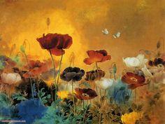 free printable Japanese floral art | Poppy flower painting - Free Desktop Wallpaper, HD Wallpapers Download ...