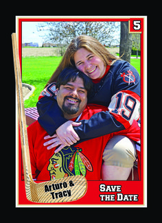 Turn you photos into customized  wedding invitation and save the date trading cards!   http://www.customsportscards.com/select.cfm/Wedding/Wedding-Invitations-4x5.5/ sports save the dates, baseball save the dates #wedding #sports
