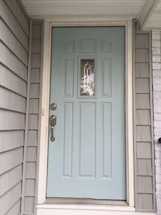 Gossamer Blue.... Benjamin Moore Paint!  Gray home, white trim....silver hardware
