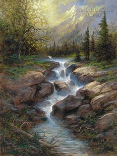 Mountain Cascade by Jon McNaughton cool waters warm light mountains river trees landscaping painting art Watercolor Landscape, Landscape Art, Landscape Paintings, Beautiful Waterfalls, Beautiful Landscapes, Jon Mcnaughton, Waterfall Paintings, Pictures To Paint, Amazing Art
