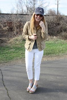 Baseball Cap = Game Time Caps Game, Cargo Jacket, Baseball Caps, Dad Hats, Beret, Cropped Jeans, White Jeans, Tiffany, Raspberry