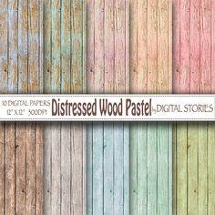 Wood digital paper DISTRESSED WOOD PASTEL by DigitalStories, €3.20
