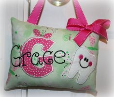 Girls Tooth Fairy Pillow  Personalized - Butterflies. $22.00, via Etsy.