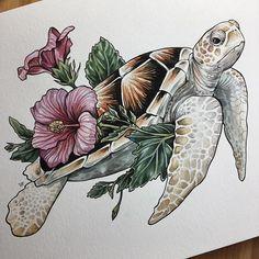 An elegant albino sea turtle for Ashley, thanks lady! Hawaiianisches Tattoo, Tattoo Style, Tattoo Drawings, Body Art Tattoos, Art Drawings, Armband Tattoo, Tattoo Outline, Tatoos, Sea Turtle Art