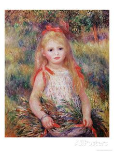 Little Girl Carrying Flowers, or the Little Gleaner, 1888 Giclee Print by Pierre-Auguste Renoir at AllPosters.com