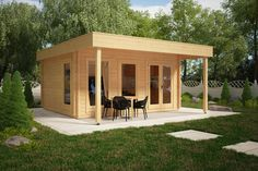 The Ian E DIY log cabin is a superb quality garden room with generous 1,5m canopy creating an ideal dining area in front of the cabin or for a BBQ zone or even to place a hot tub. Extra thick 50mm wall planks, 28mm floor boards, double glazed windows and doors are all included in the standard kit. All three windows open. With previous DIY experience this cabin can be installed within 2-3 days without hiring professionals.