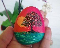 Painted Stone Dandelion Pebbles with Nature Designs floral   Etsy Stone Art Painting, Pebble Painting, Rock Painting, Christmas Decals, Christmas Tree Painting, Hand Painted Rocks, Painted Stones, Paint Pens For Rocks, Whimsical Christmas Trees
