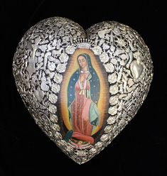 Lg Milagro Covered Heart & Oil Painting of Virgin of Guadalupe Mexican Folk Art
