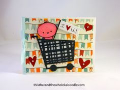 Peep card made with Paper Smooches grocery cart die and Lawn Fawn Dewey Decimal Collection paper