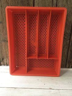 Vintage Plastic Utensil Tray - Orange by TheCrawfordMarket on Etsy