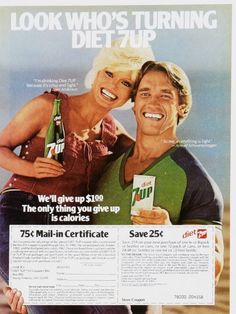old Diet 7up advertisement with coupon Arnold Schwarzenegger  & Lonni Anderson!