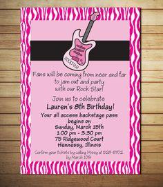 Rock Star Birthday Invitations- Rock Star Party Invitations - Rocker Girl Party- Guitar Birthday Invitations - Printable - Zebra Theme. $12.00, via Etsy.