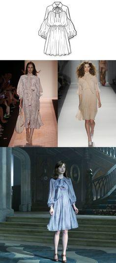 TOUCH это изображение: Свободное платье с акцентом на талии и пышными рукавами, ... by Kronsky